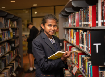 Middle School Year 8 Student at Library