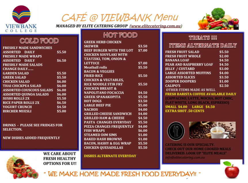 Viewbank Colleg Café Menu